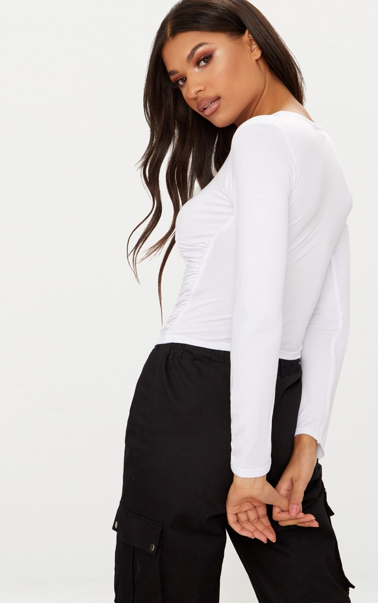 White Long Sleeve Ruched Front Top  2