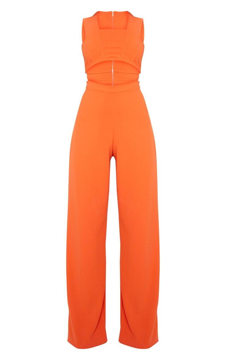 Orange Crepe Cut Out Jumpsuit 3