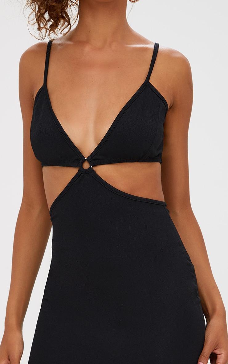 Petite Black Cut Out O-Ring Midi Dress 5