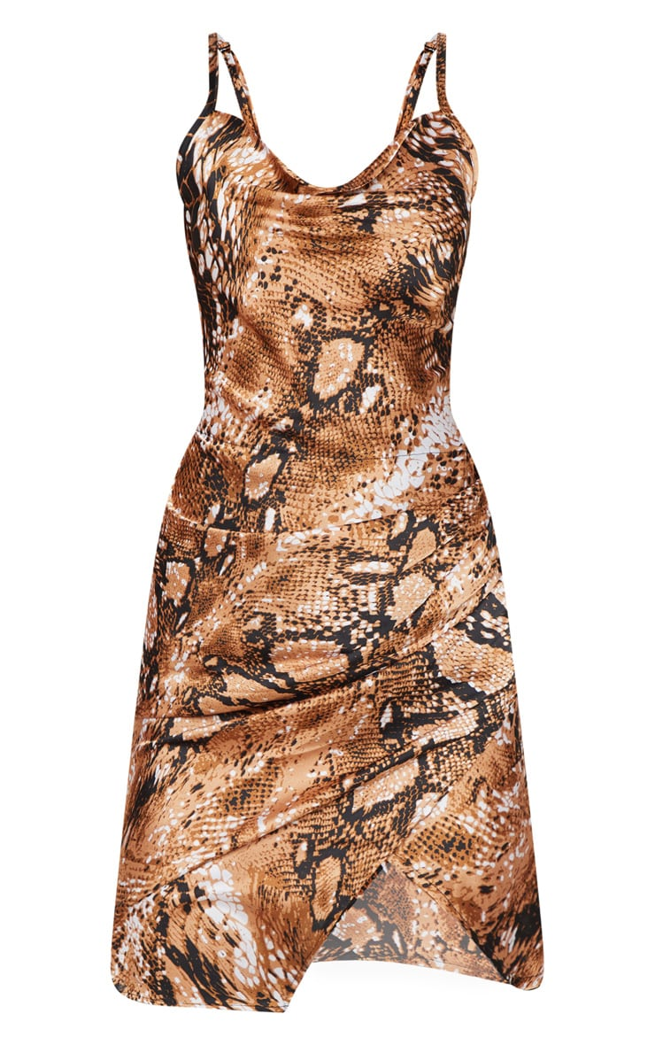Tan Satin Snake Cowl Ruched Bodycon Dress 3