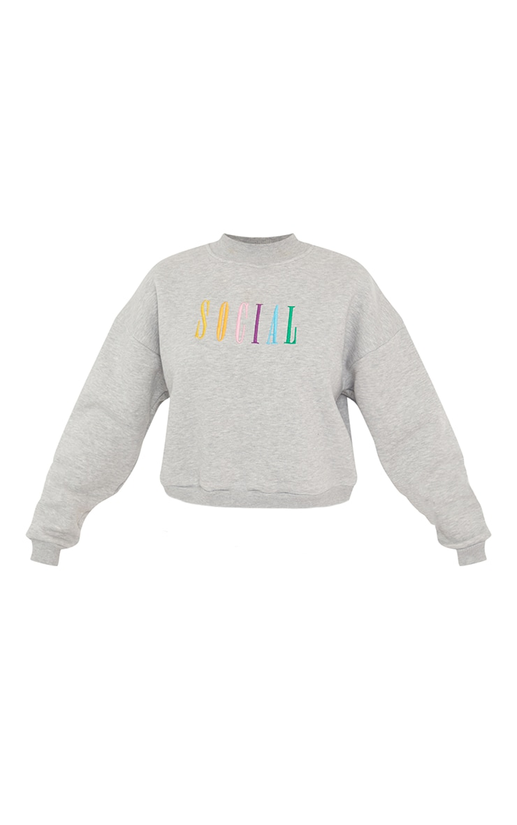 Grey Social Slogan Embroidered Fleece Sweater 5