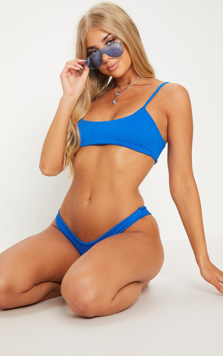 Cobalt Crinkle Scoop Neck Bikini Top 4