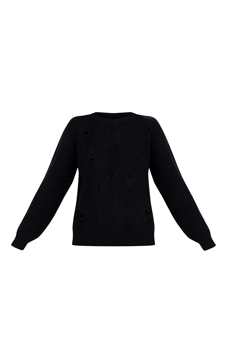 Black Distressed Knitted Jumper 3