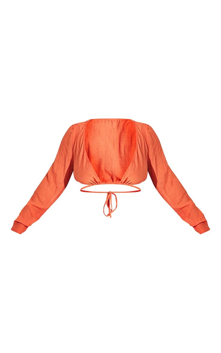 Plus Orange Linen Look Long Sleeve Plunge Beach Top 8