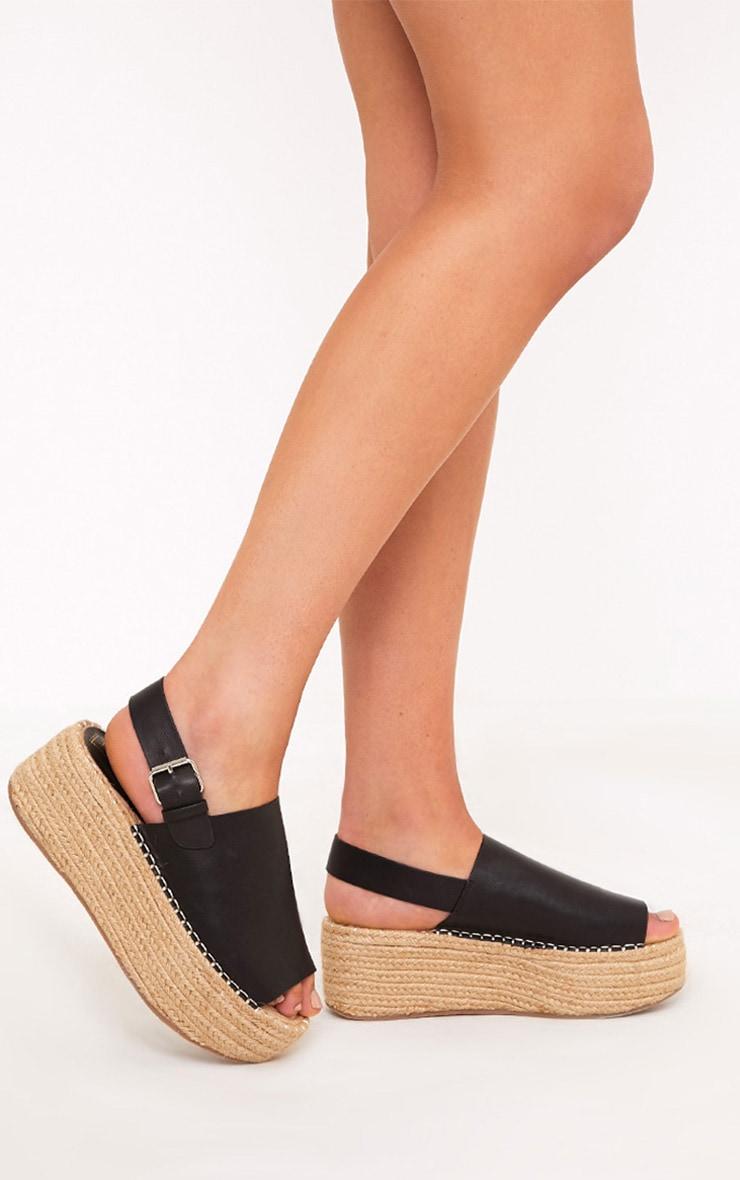 Kendyl Black Flatform Sandals 1