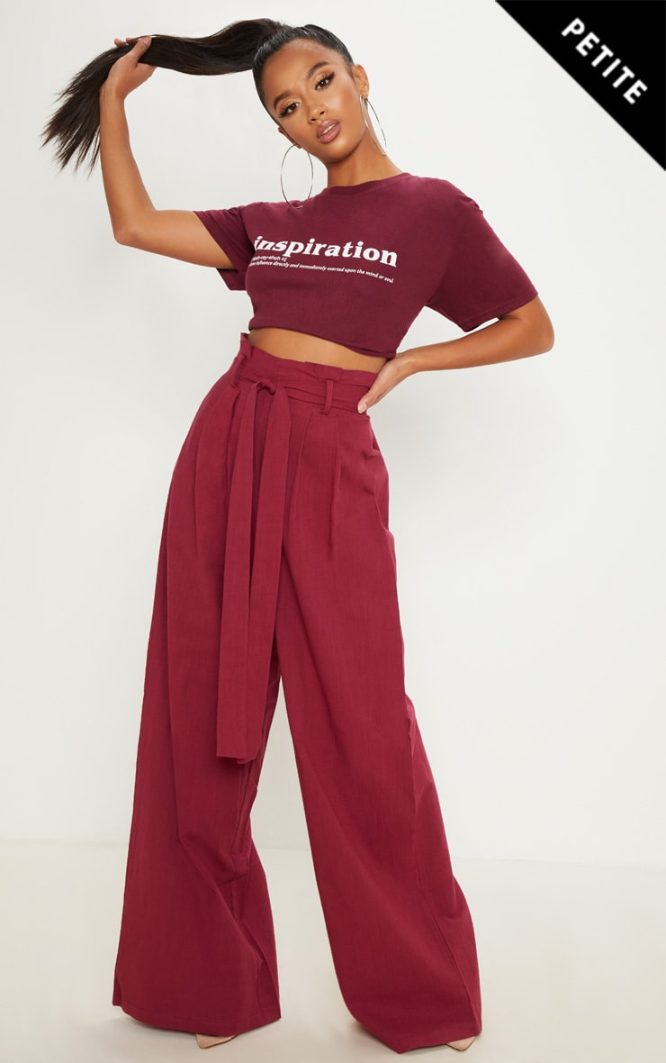 Petite Burgundy High Waisted Paper Bag Wide Leg Trouser by Prettylittlething