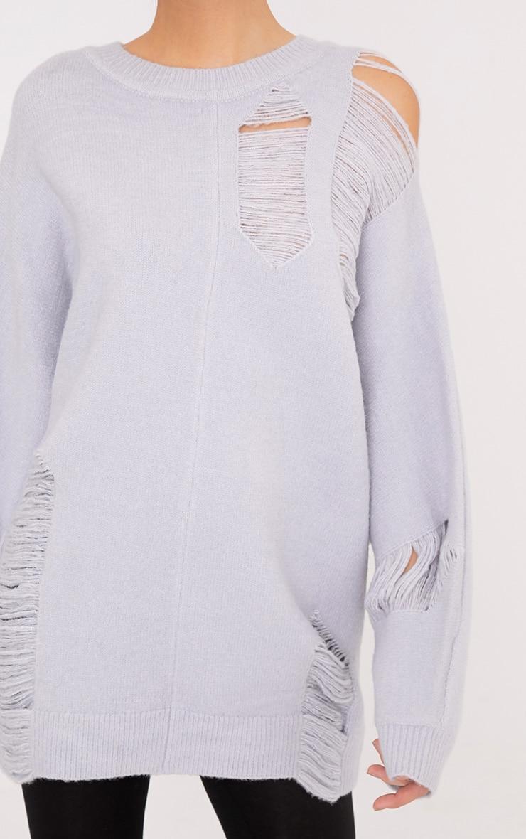 Raysha Light Grey Distressed Over Sized Knitted Jumper 5