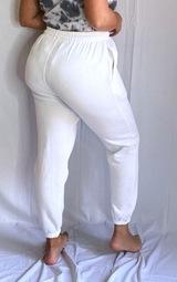 Plus White Seam Detail Waist Cuff Hem Sweatpants 3