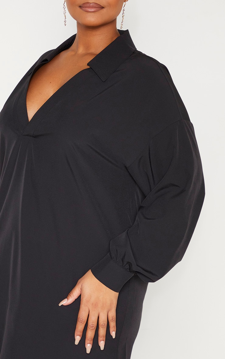 Plus Black V Neck Plunge Shift Dress 5