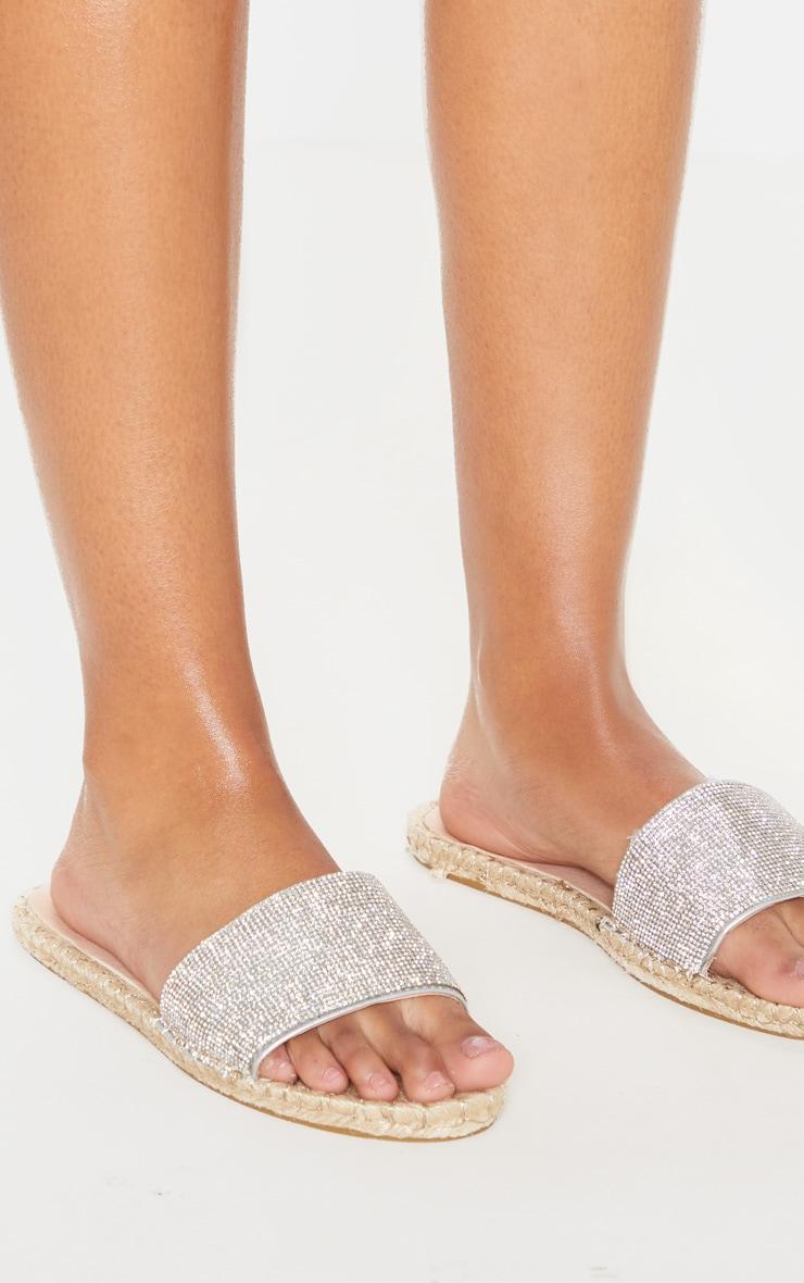 Silver Diamante Espadrille Sandal  3
