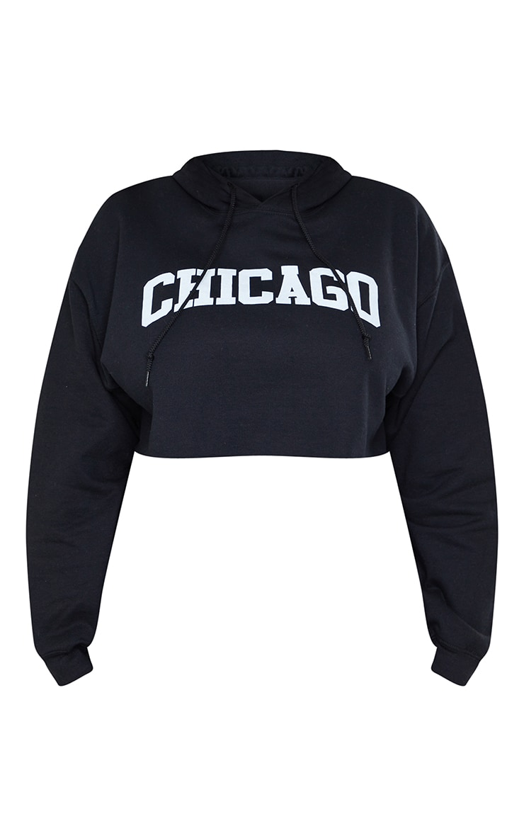Plus Black Chicago Cropped Hoodie 5