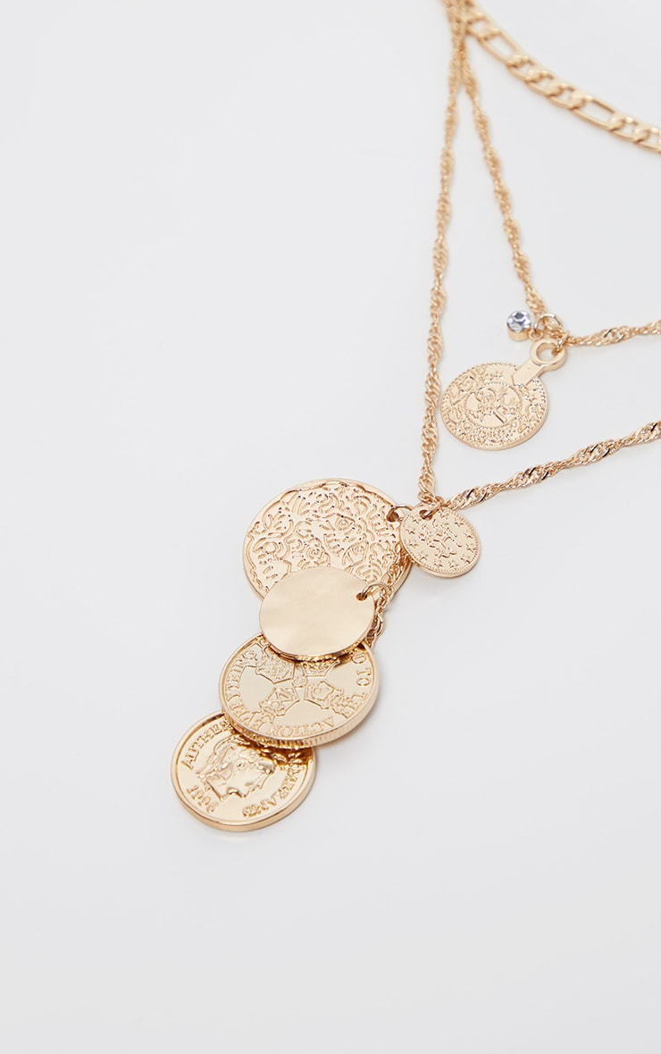 Gold Multi Coin And Disc Charm Necklace 4