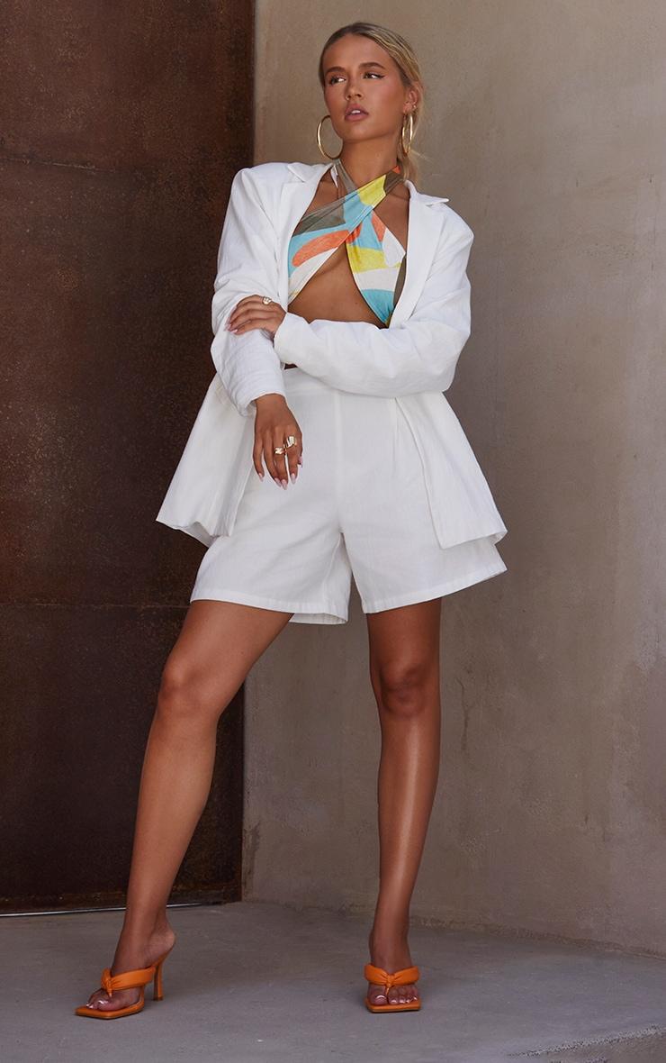 White Linen Look Oversized Blazer 3