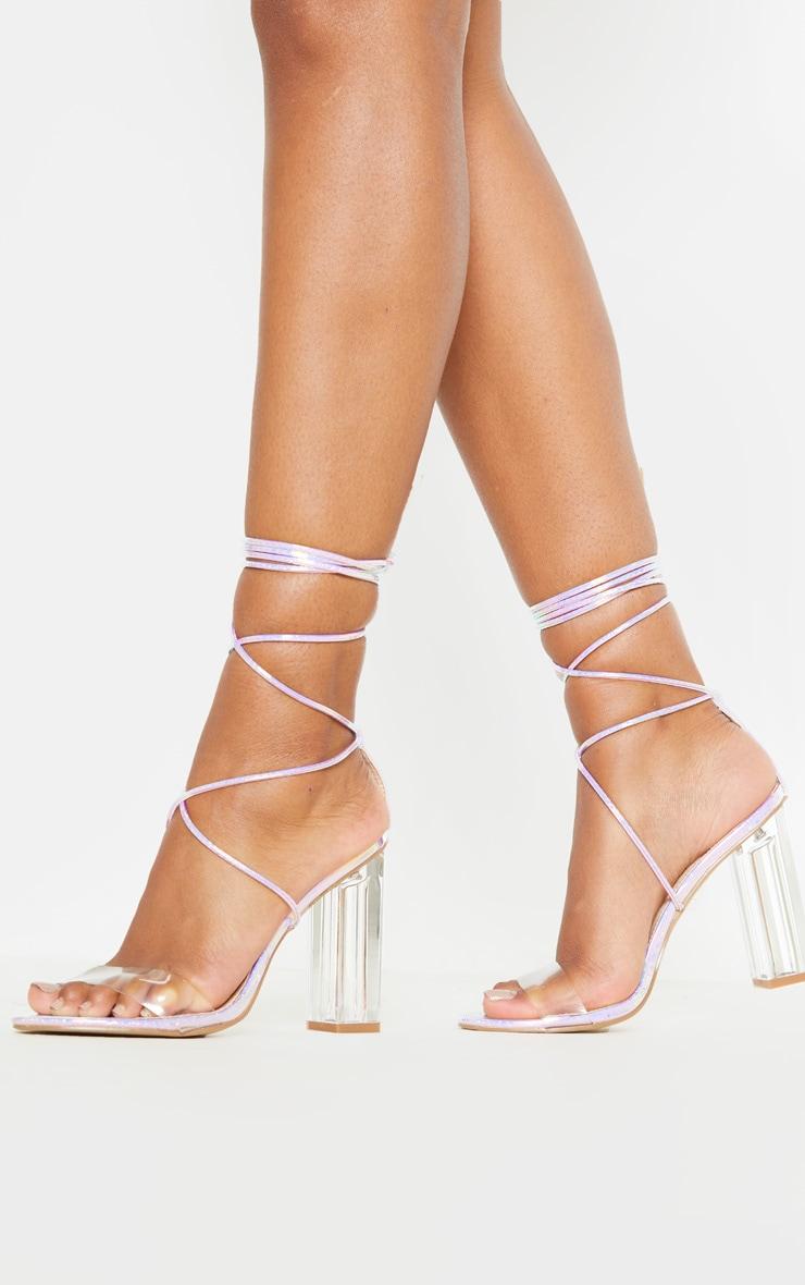 Snake Clear Holographic Heel Block Heel Sandal 1