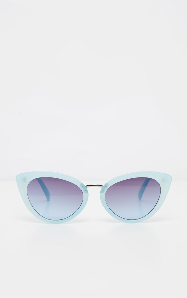 Baby Blue Metal Bridge Sizes Cat Eye Sunglasses 2