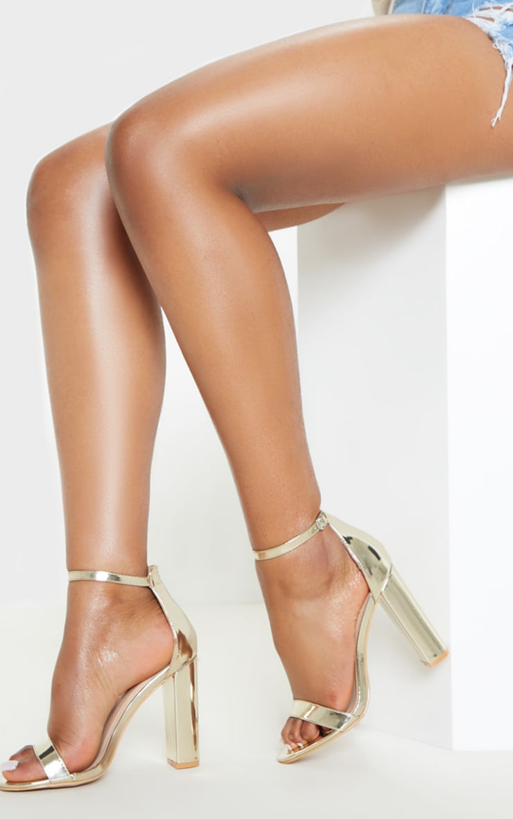 Gold Wide Fit Block Heeled Sandals 2