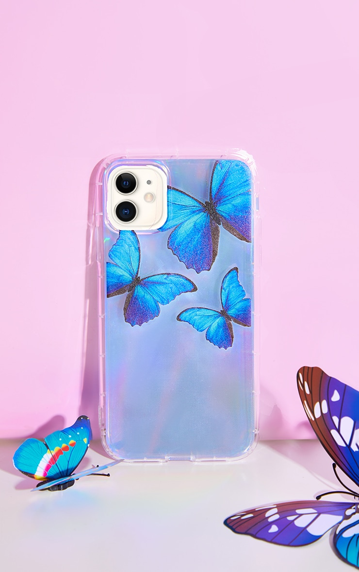 Silver Iridescent Blue Butterfly Iphone 11 Phone Case 1