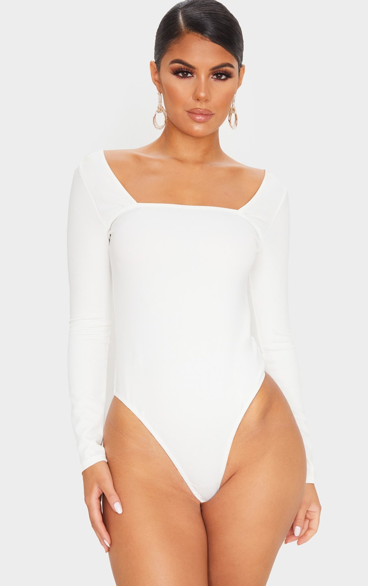 White Long Sleeve Square Neck Thong Bodysuit 2