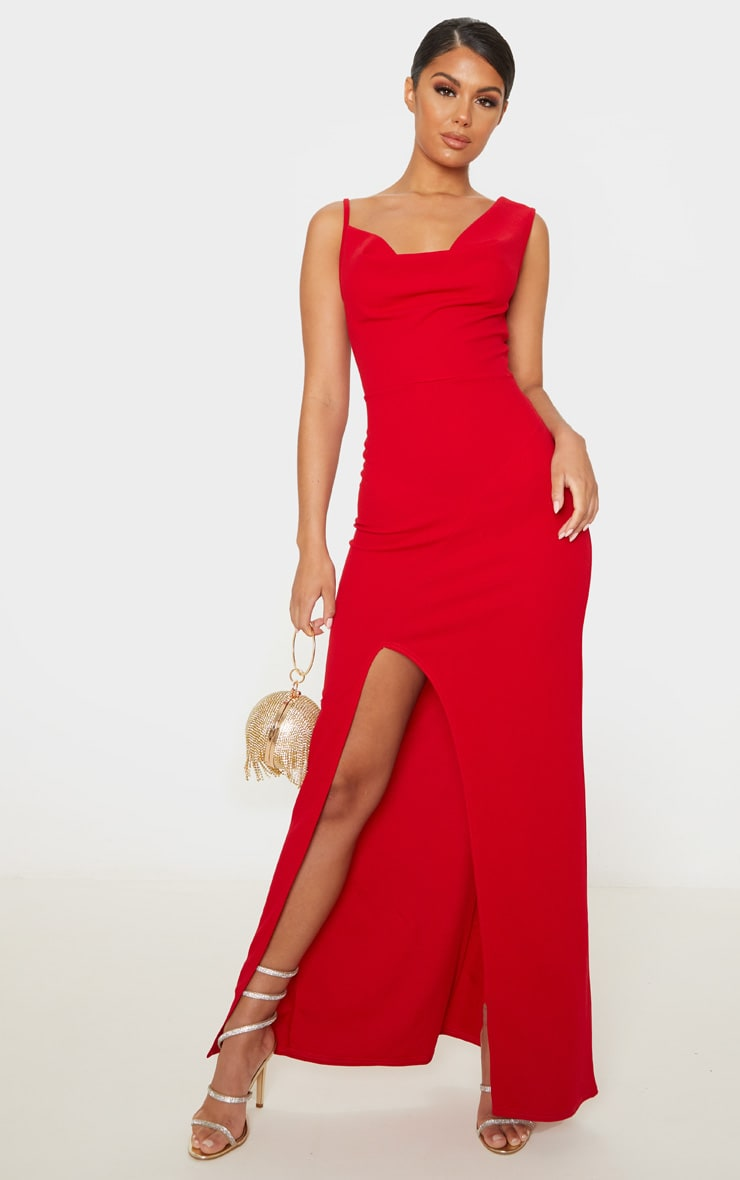 Red Asymmetric Cowl Neck Maxi Dress 1