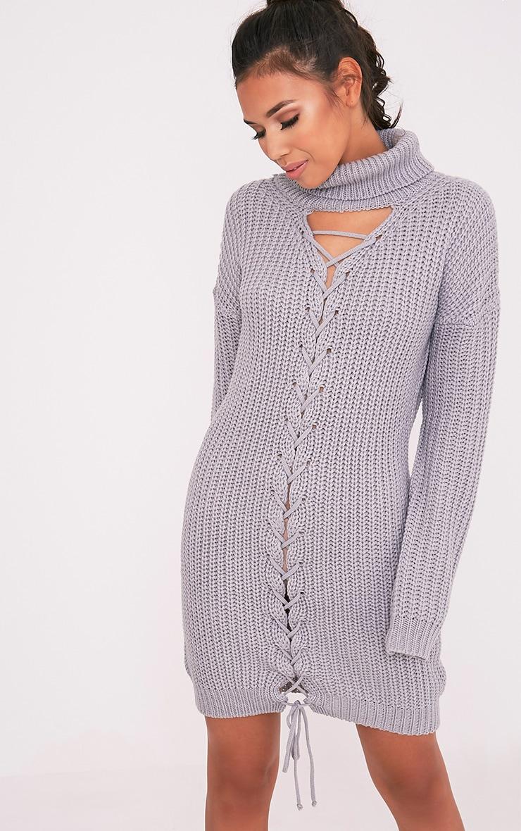 Josalinda robe col roulé à lien à nouer sur le devant en maille grise 1