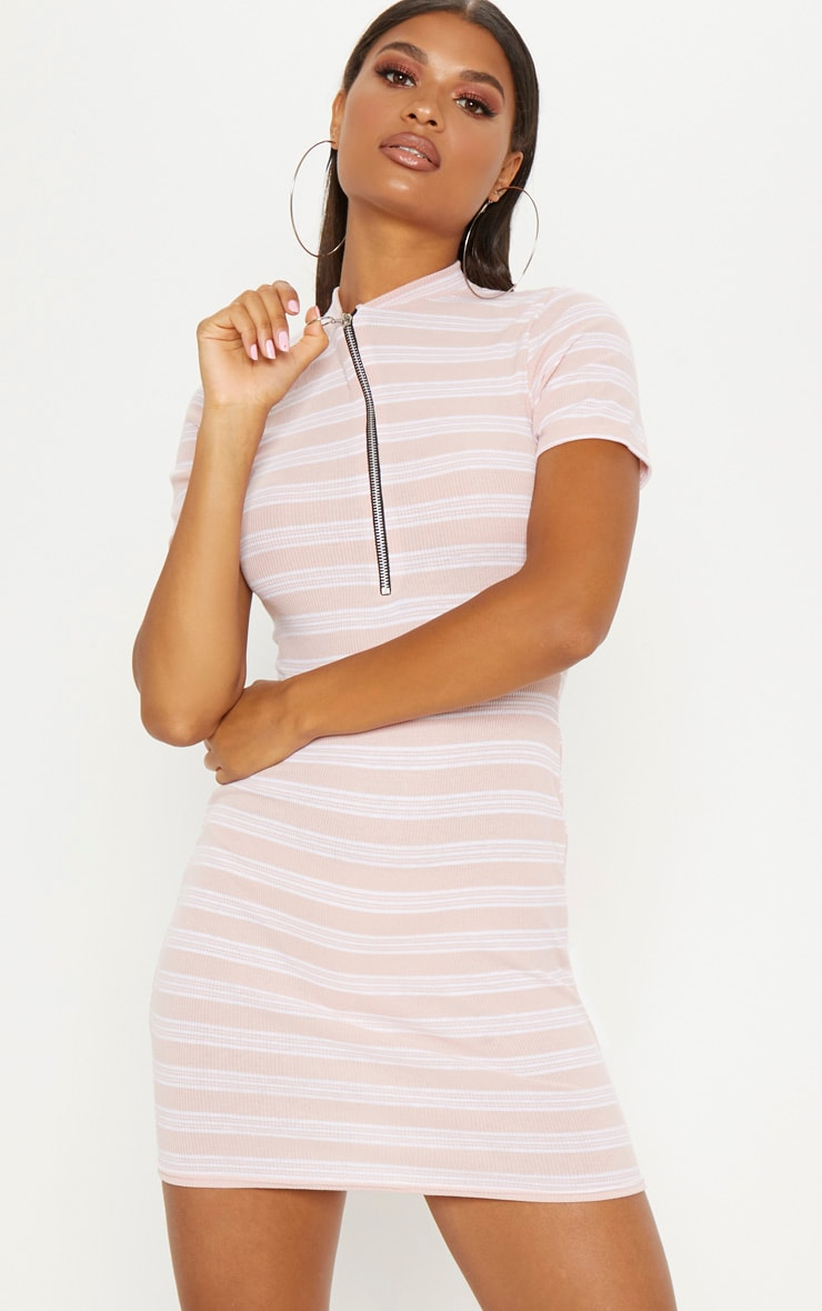Pink Striped Knitted High Neck Rib Dress