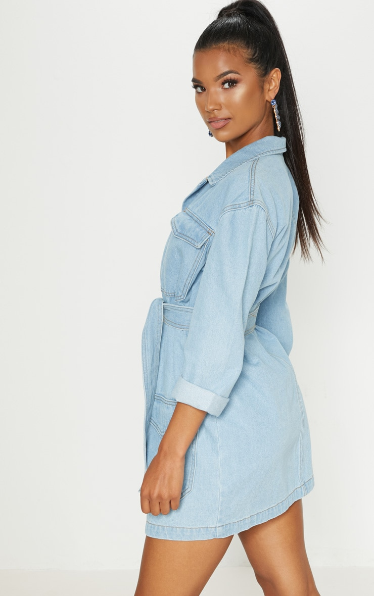 Mid Wash Denim Button Up Tie Detail Shirt Dress 4