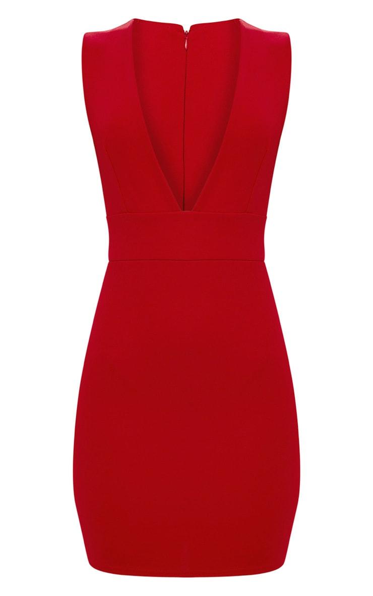 Red Extreme Plunge Sleeveless Bodycon Dress 3