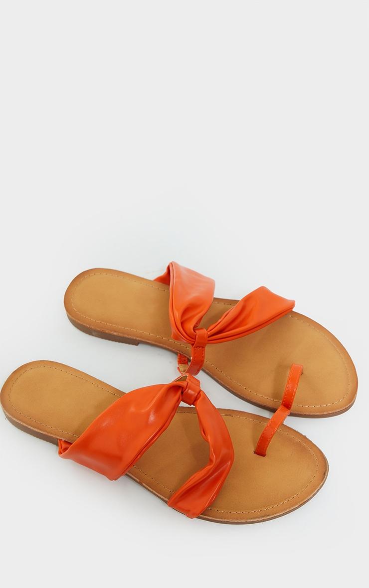 Orange PU Toe Loop Pull Over Detail Flat Mule Sandals 3