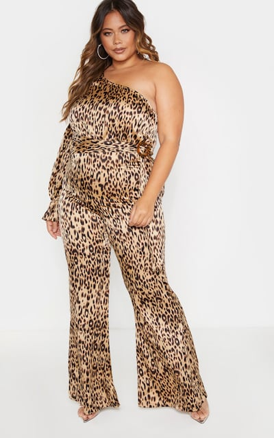 Plus Brown Leopard Print Asymmetric Ring Detail Jumpsuit
