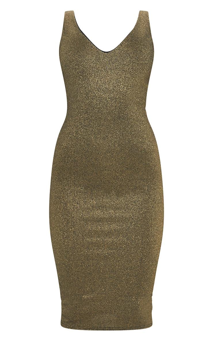 Gold Glitter Plunge Midi Dress 5