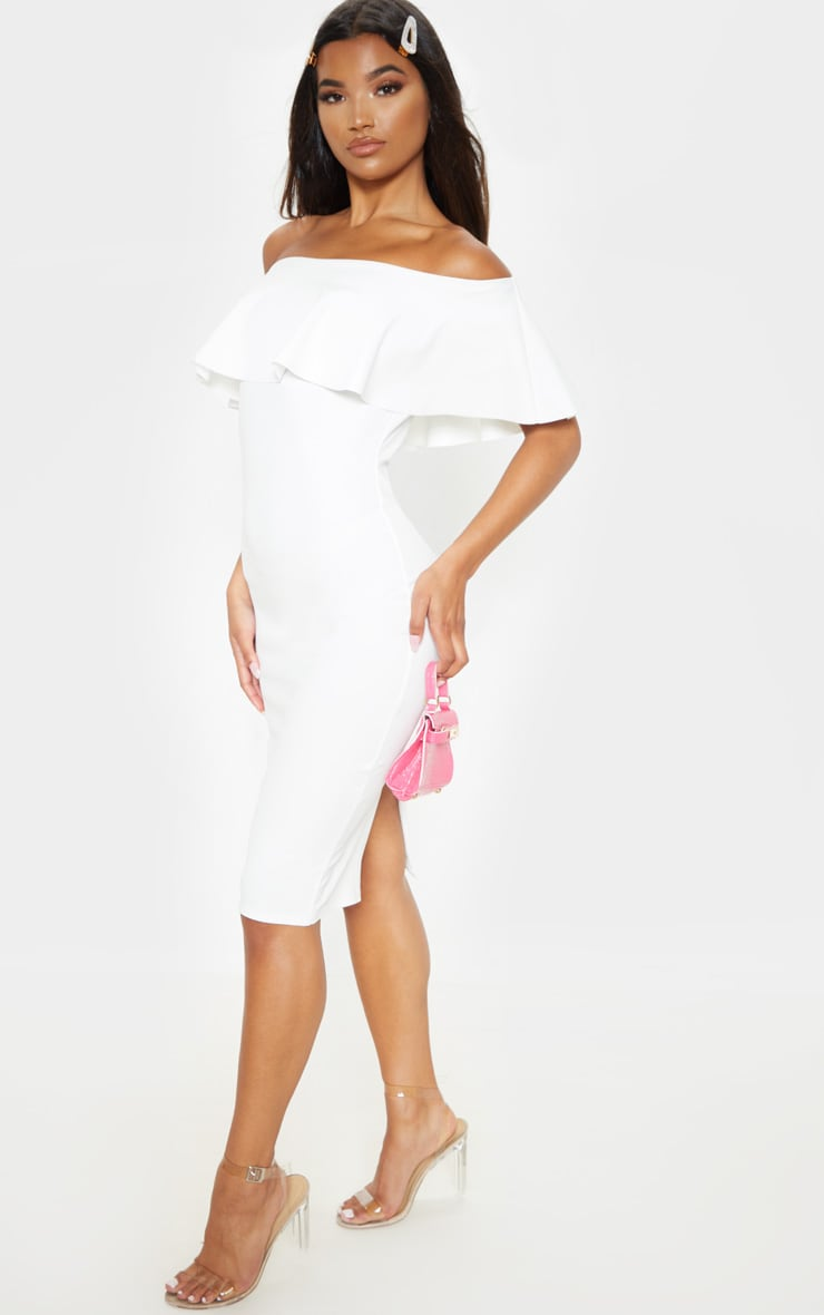 Celinea White Bardot Frill Midi Dress 4