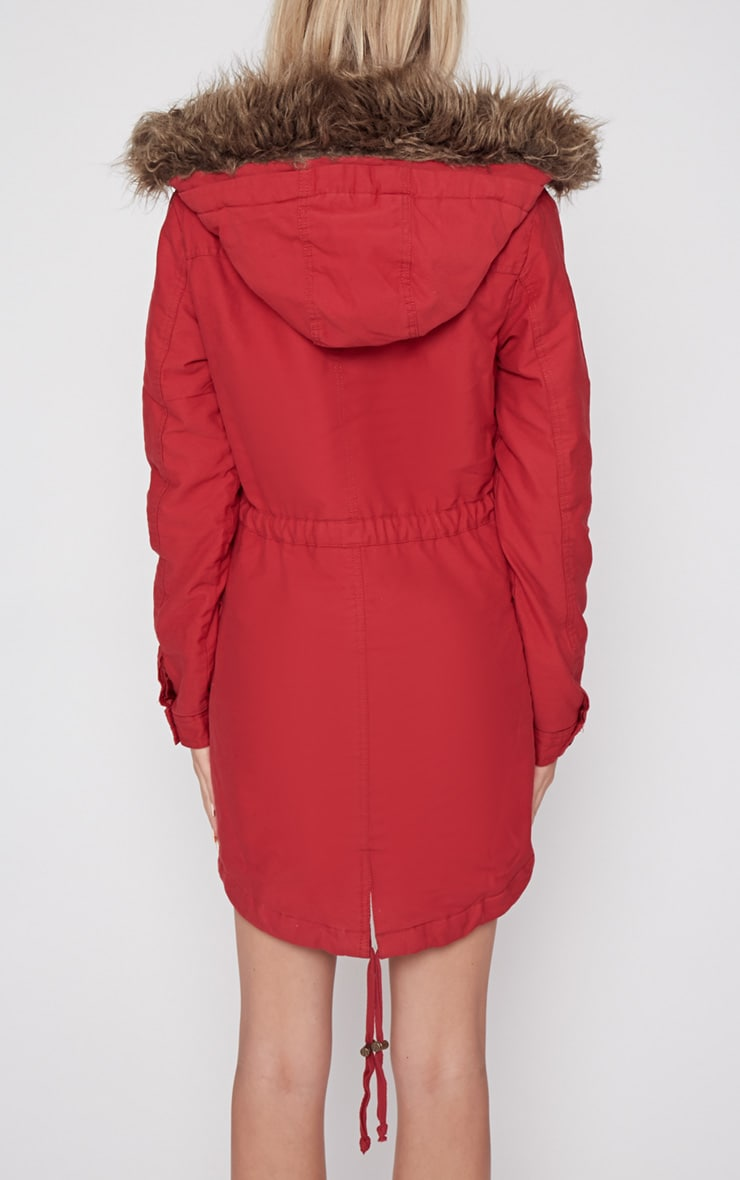 Andrea Red Parker Coat 2