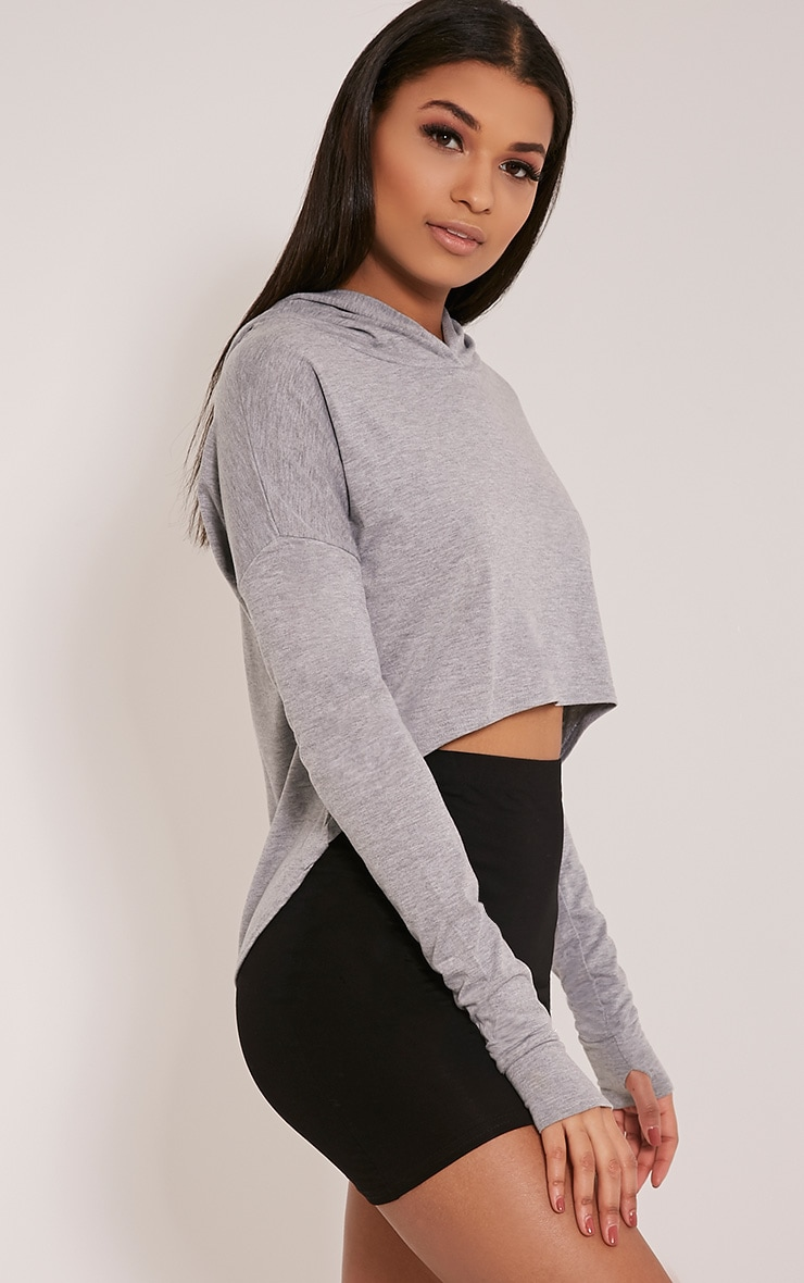 Monah Grey Jersey Cropped Hoodie 1