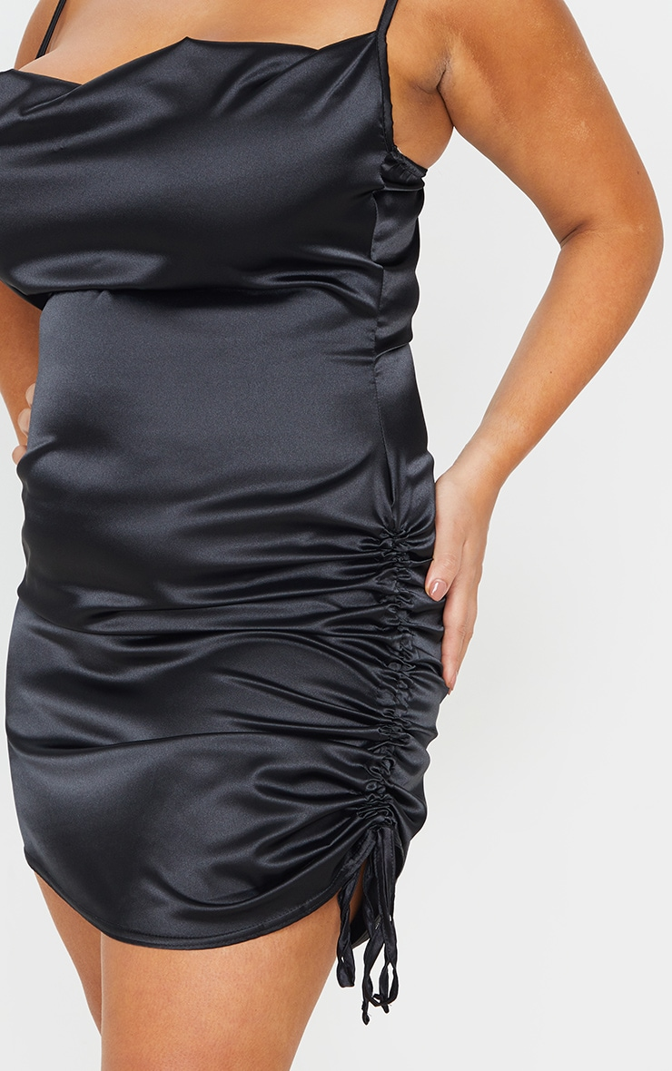 Plus Black Satin Cowl Ruched Side Bodycon Dress 4