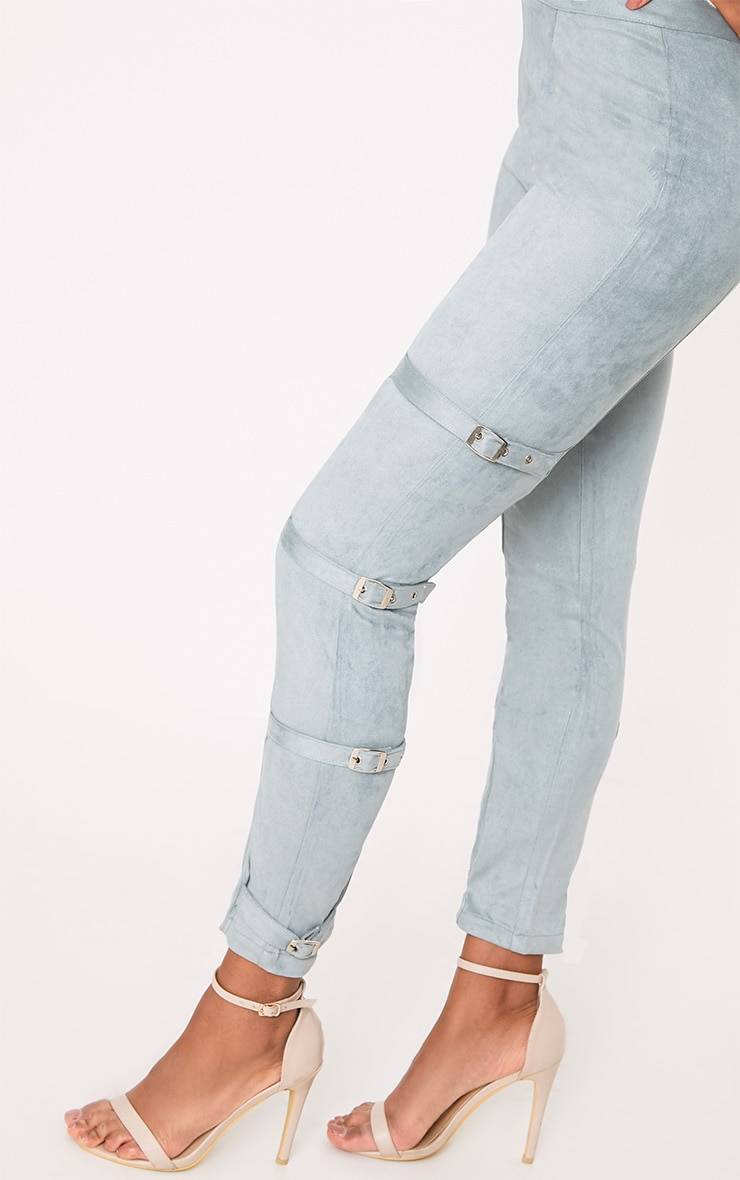 Avi Dusty Blue Faux Suede Buckle Trousers  5