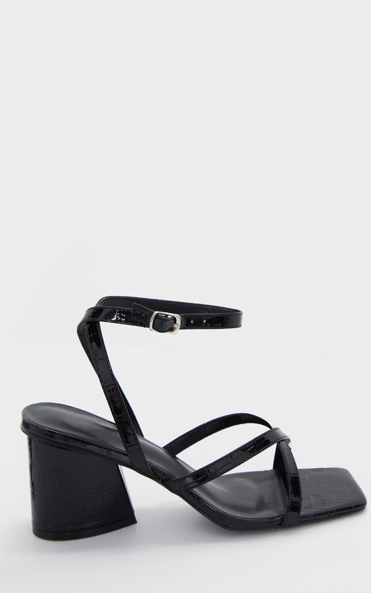 Black Tear Drop Block Heel Square Toe Cross Strappy Sandals 4