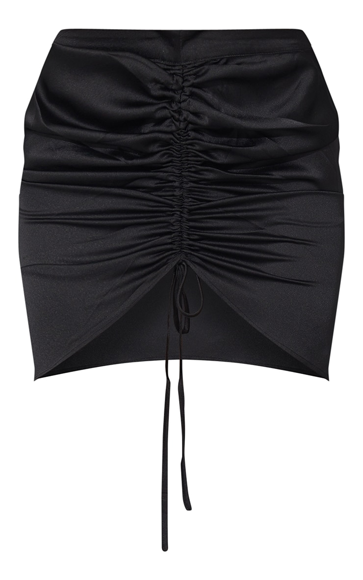 Black Front Ruched Mini Skirt 6