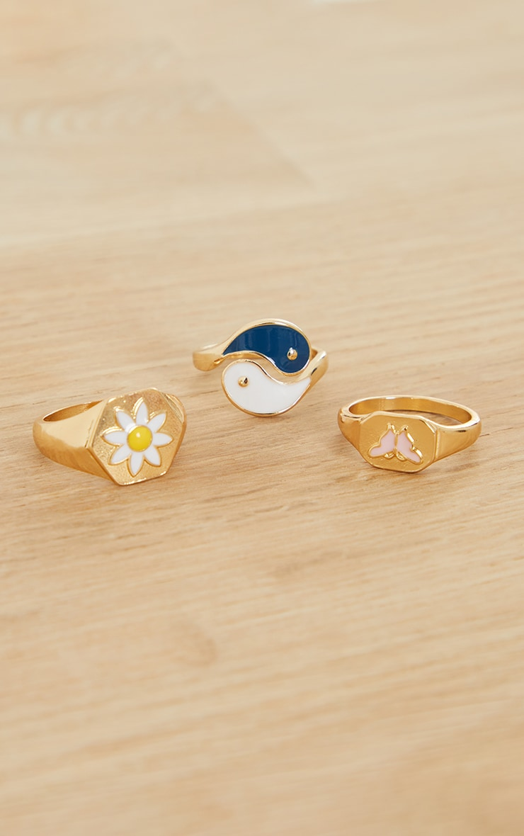 Gold Ying Yang And Flower Assorted Rings 3