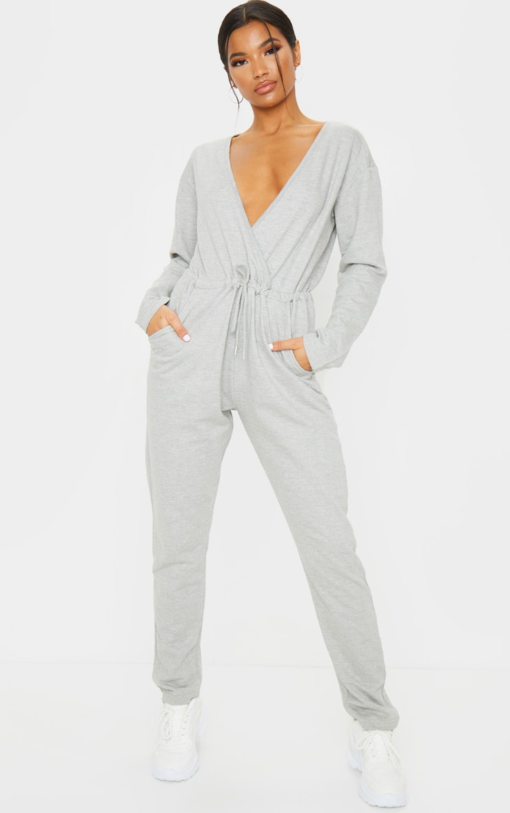 Grey Wrap Over Long Sleeve Sweat Jumpsuit 3