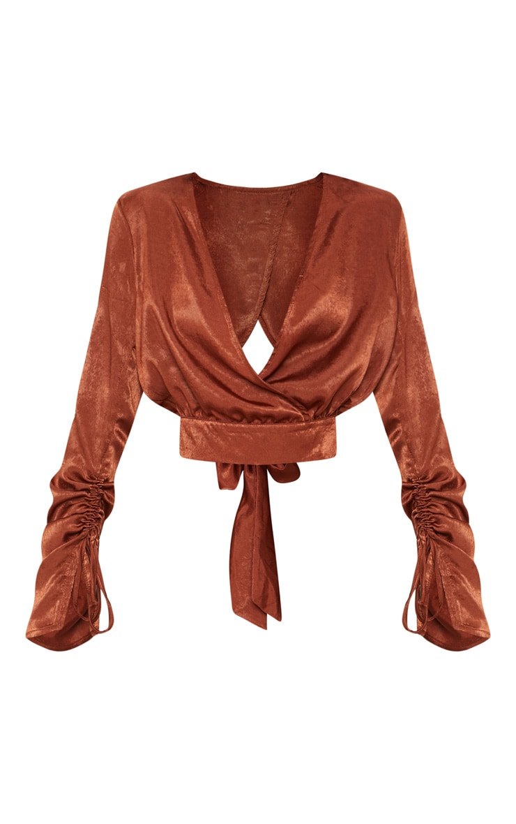 Chocolate Brushed Satin Tie Back Blouse 3