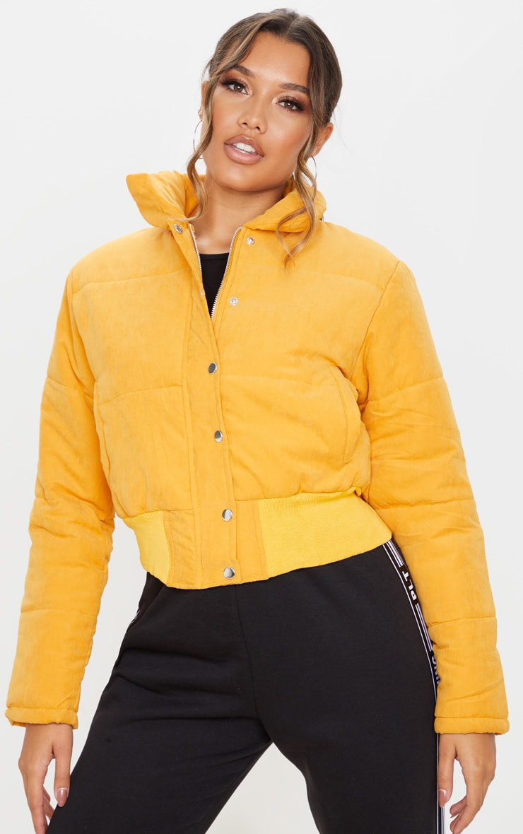 Mustard Peach Skin Cropped Puffer Jacket 1
