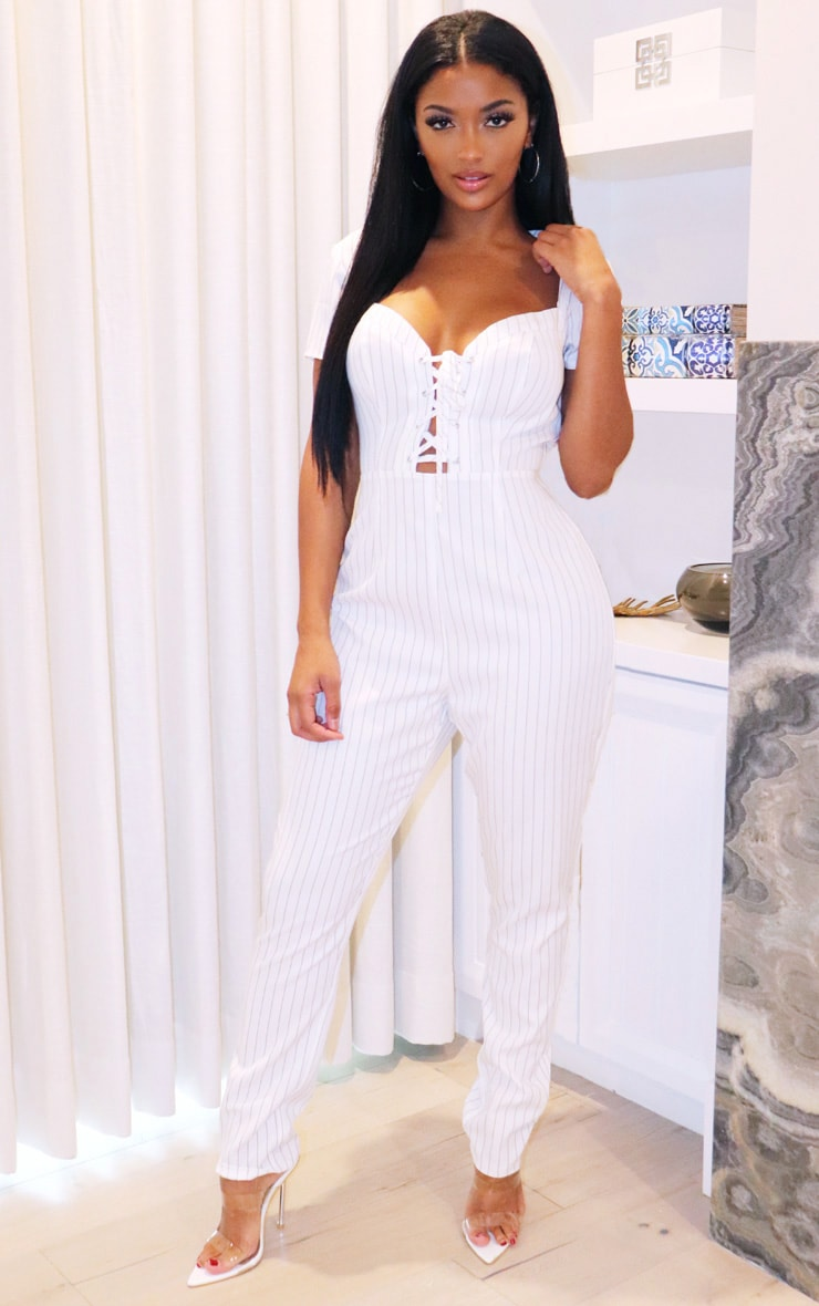 Shape White Pinstripe Lace Up Straight Leg Jumpsuit 1
