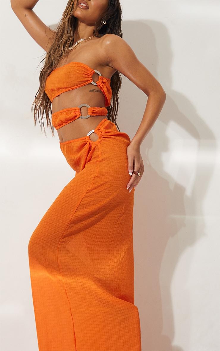 Orange Mini Crinkle Ring Cut Out Beach Dress 4
