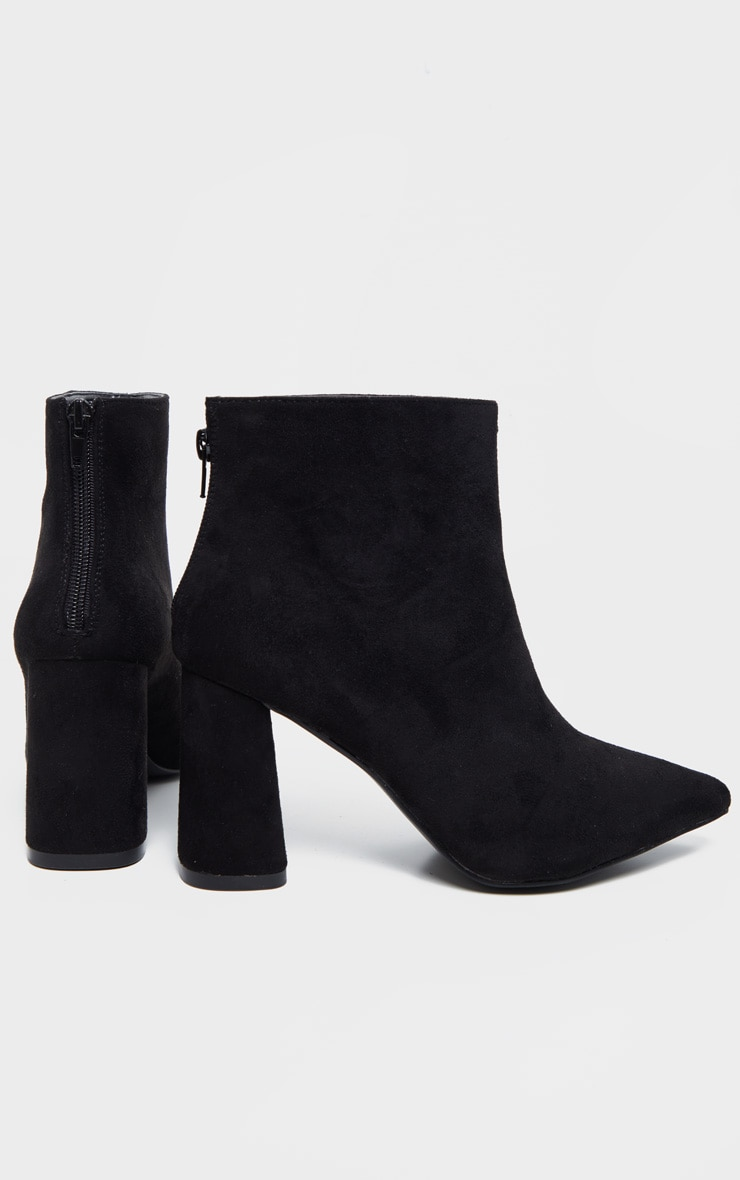 Black Wide Fit Zip Back Ankle Boot 3