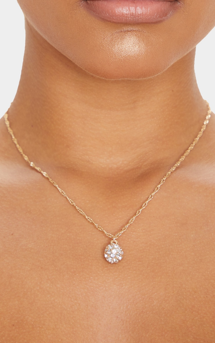 Gold Twist Pave Ball Charm Necklace 2