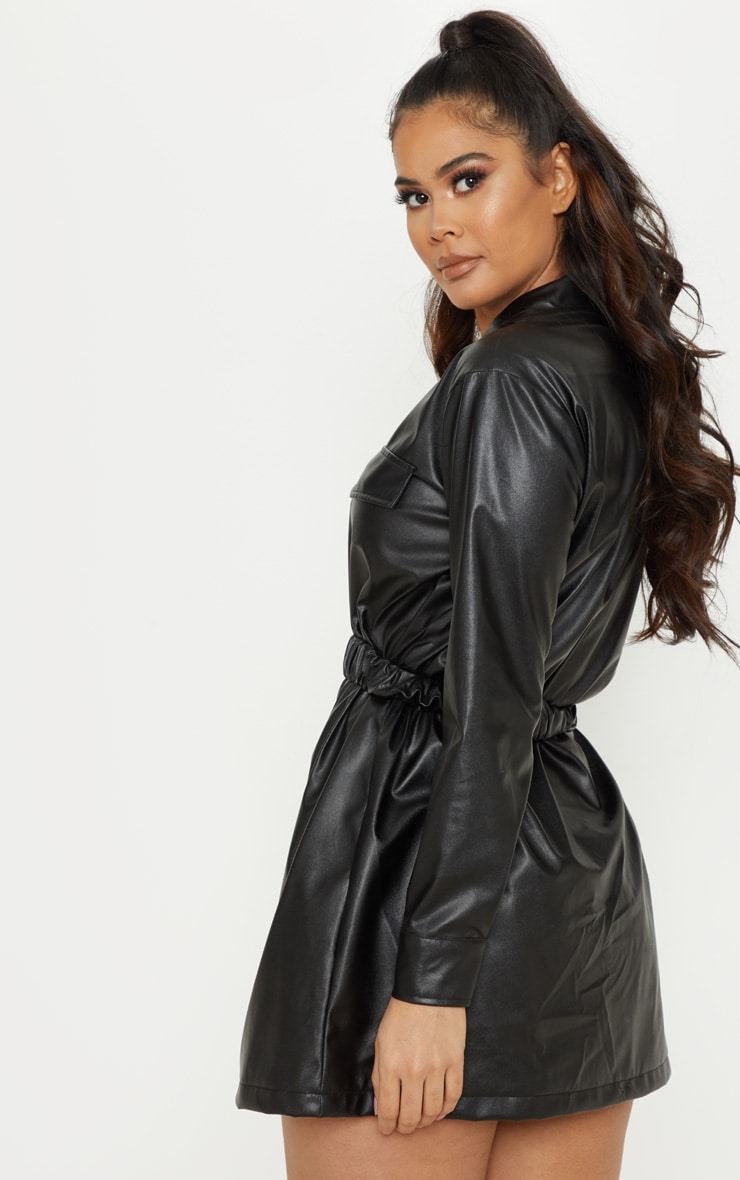 Black Faux Leather Belted Shirt Dress 2