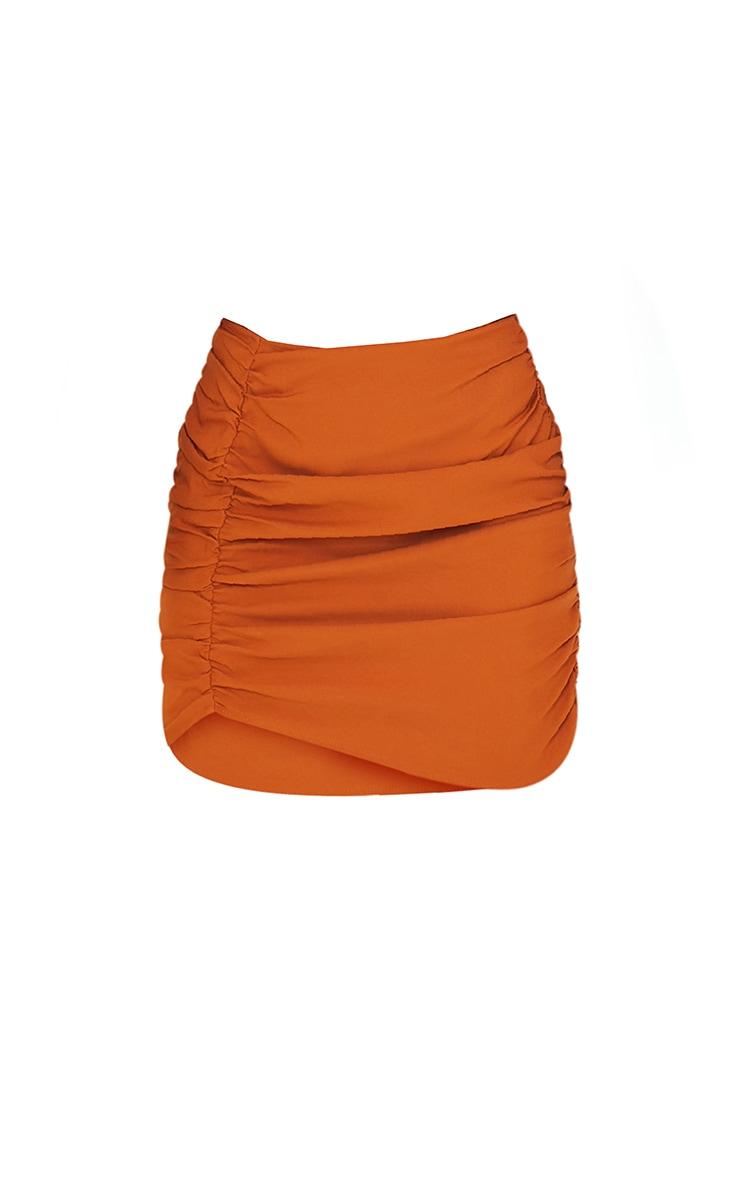 Burnt Orange Woven Ruched Seam Front Mini Skirt 6