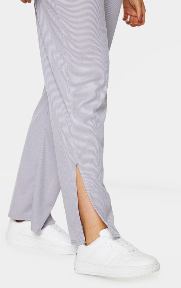 Tall Grey Ribbed Split Hem Flared Trousers 4