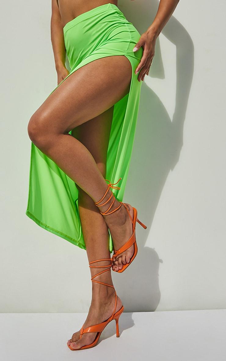 Jupe longue vert citron slinky à côté fendu 4