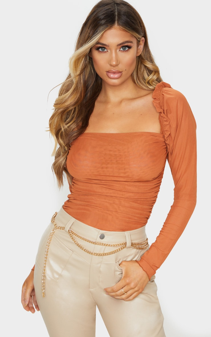 Rust Sheer Mesh Ruched Puff Sleeve Bodysuit 1